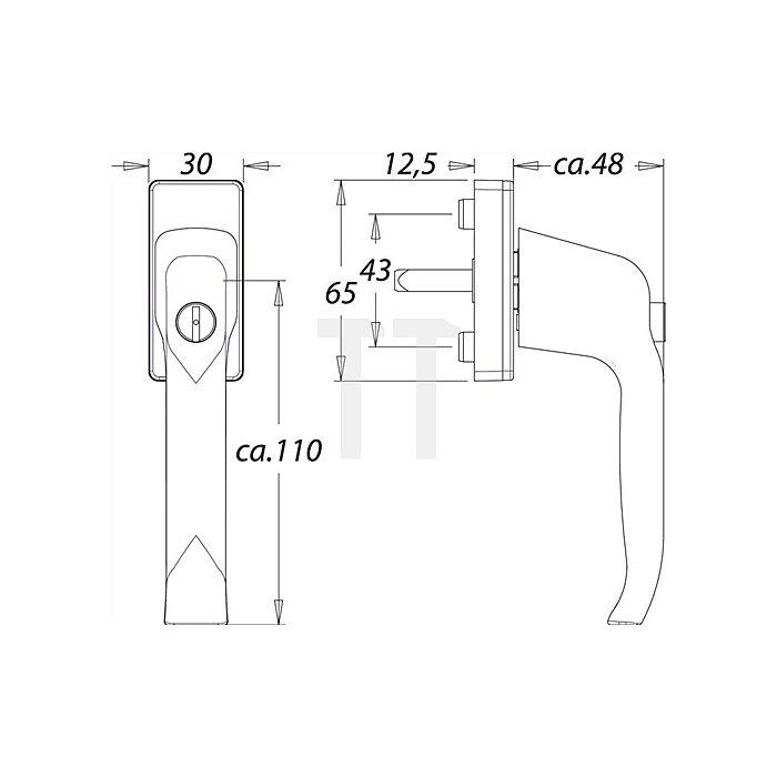 Fenstergriff Standard 1003A 7mm VK 35mm vorstehend Alu F1 m. Druckzylinder