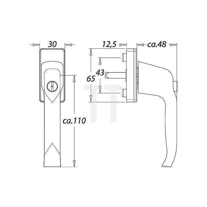 Fenstergriff Standard 1003A 7mm VK 35mm vorstehend Alu F2 mit Druckzylinder