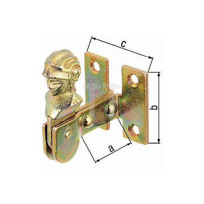 Fensterladen-Feststeller 35x47x42mm Stahl roh galv. gelb verz.