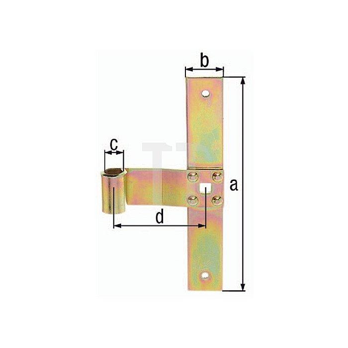 Fensterladen-Mittelband 200x30xØ13x75mm Stahl roh galv. gelb verz.