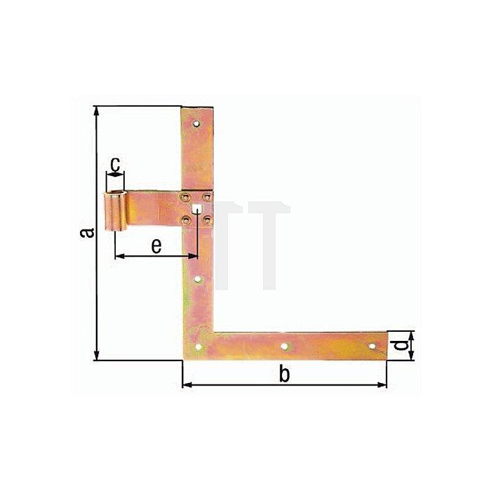Fensterladen-Winkelband 250x350xØ13x30x75mm Stahl roh galv. gelb verz.