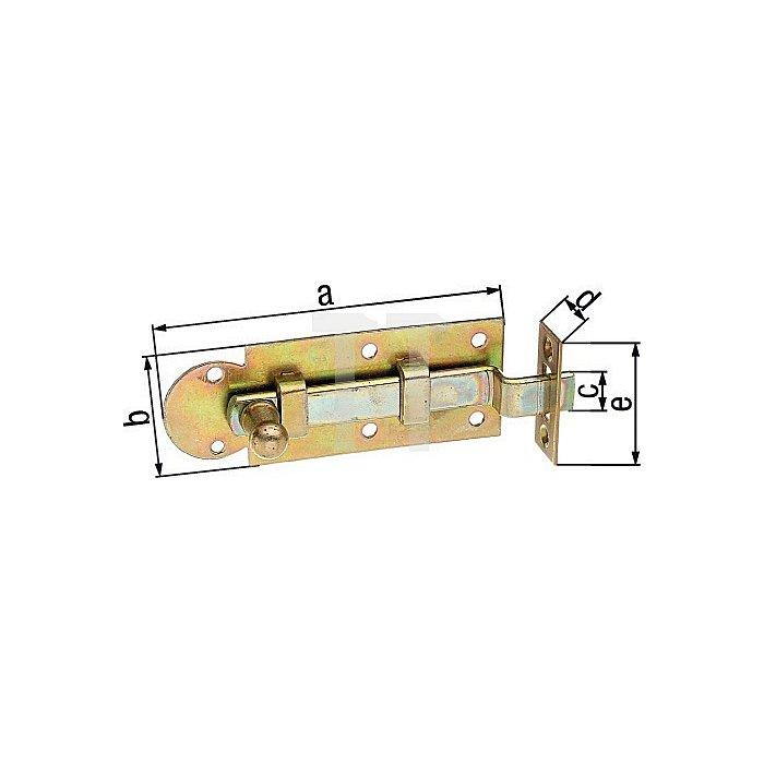 Fensterriegel 100x30x11,5x22x40mm Stahl roh galv. gelb verz.