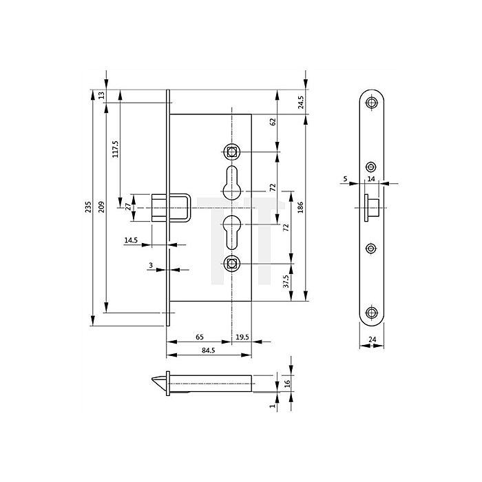 FH-Einsteckschloss 1125 DIN li./re.Dorn 65mm Entf.72mm VK 9mm Stulp 24mm
