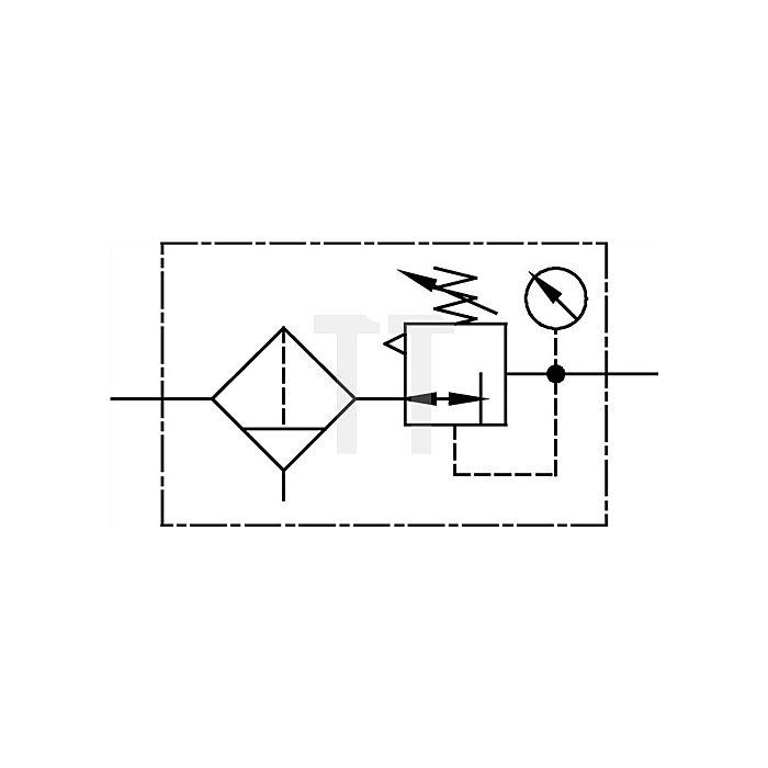 Filterregler mit Polycarbonatbehälter und Manometer Gewinde G 1/2