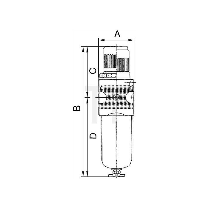 Filterregler mit Polycarbonatbehälter und Manometer Gewinde G 3/4
