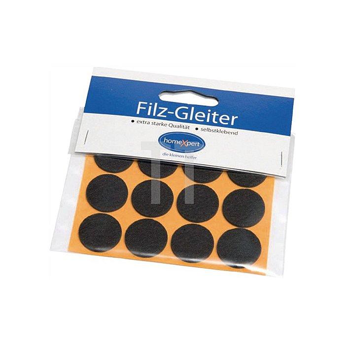 Filzgleiter Durchmesser 22mm braun selbstklebend 12 Stück / SB Karte