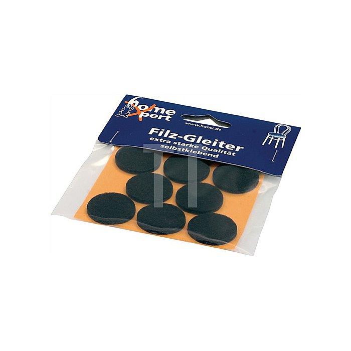 Filzgleiter Durchmesser 28mm braun selbstklebend 9 Stück / SB Karte