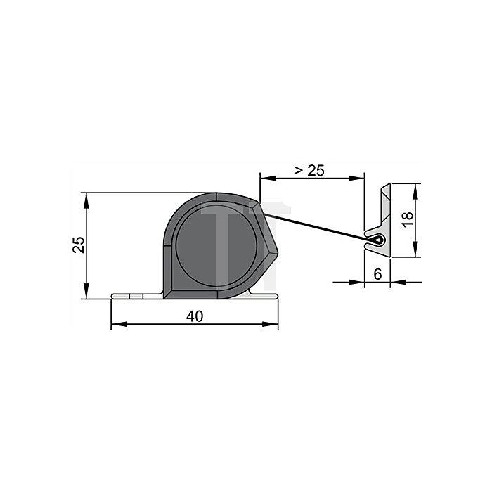 Fingerschutzprofil NR-25 L. 1925mm Profil Alu silberfarbig Schutzrollo schw.