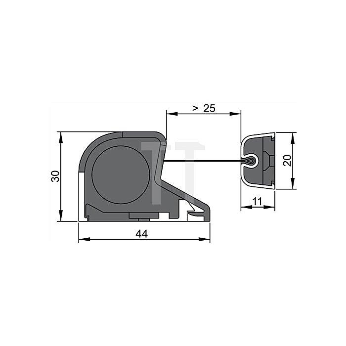 Fingerschutzprofil NR-30 Länge 1925mm Pofil Alu silber Schutzrollo weiss-schwarz