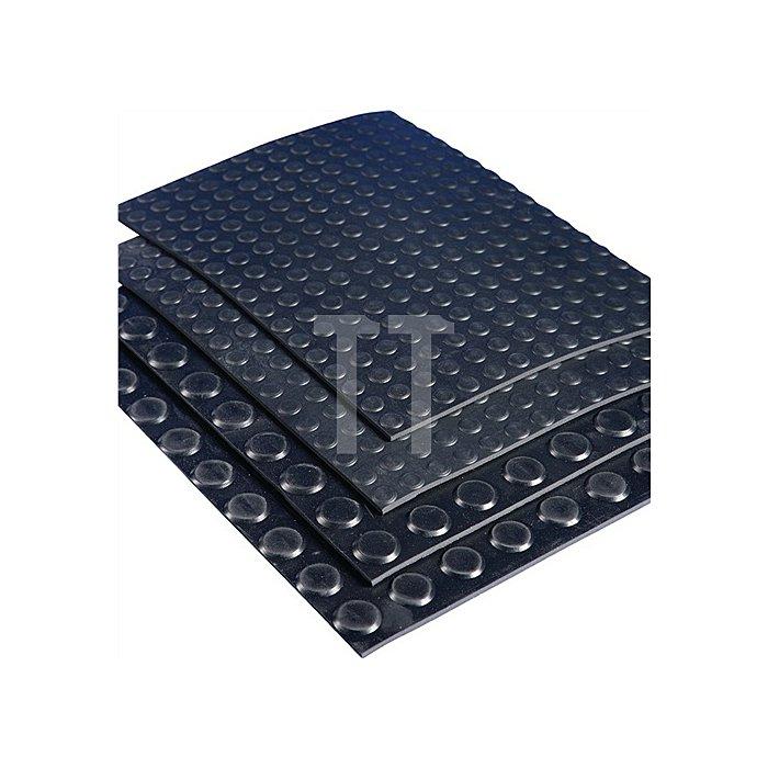 Flachnoppenmatte Gummi 4mm o.Gewebe L.10000xB.1250mm schwarz 10m/RL