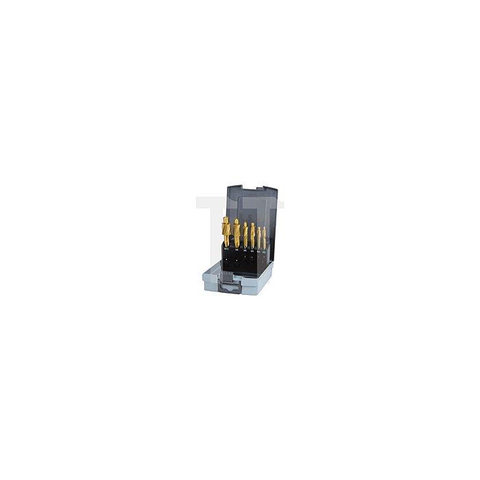 Flachsenker-Satz DIN 373 HSS-TiN mit festem Führungszapfen in Kunststoffkassette