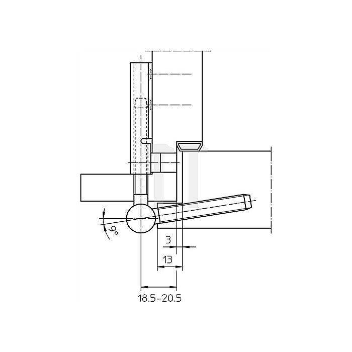 Flügelteil V 0020 Rollenlänge 39,5mm Rollendurchmesser 15mm Stahl verz.
