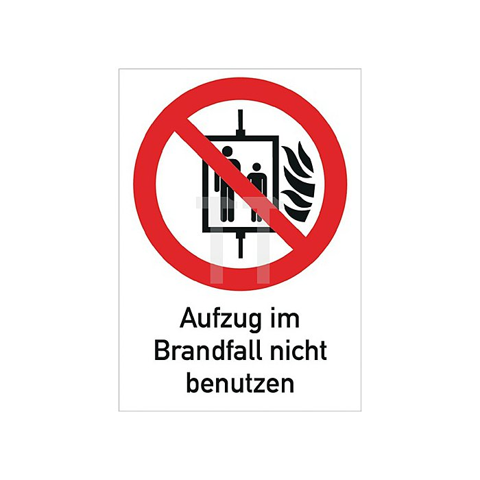 Folie Aufzug i.Brandfall nicht benutzen 185x131mm rot/weiss