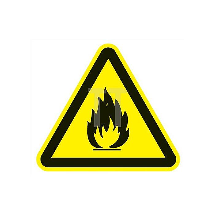 Folie feuergefährliche Stoffe 200x200mm 3-eckig gelb/schwarz selbstklebend