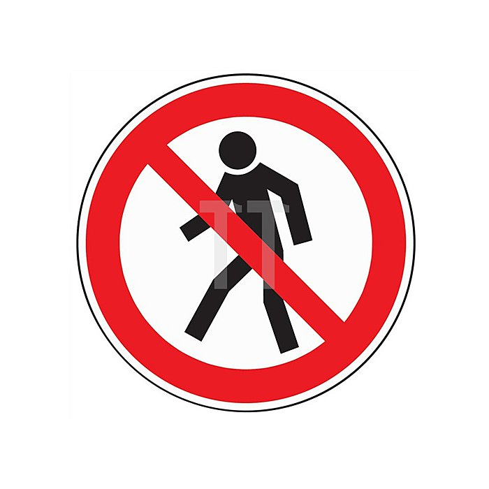 Folie Fußgänger verboten D.200mm Kunststoff rot/schwarz selbstklebend