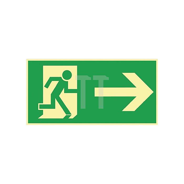 Folie Rettungsweg rechts 297x148mm grün/weiss nachleuchtend selbstklebend