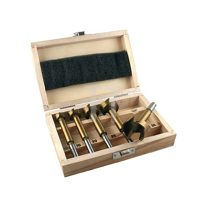 Forstnerbohrersatz 5tlg. Import 15/20/25/30/35mm i.Holzkassette