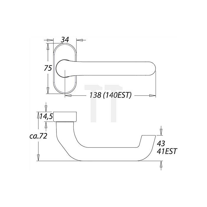 FS-Rahmentürdrücker 1300/2133 VK 9mm festdrehbar auf ovaler Rosette Alu F1 natur