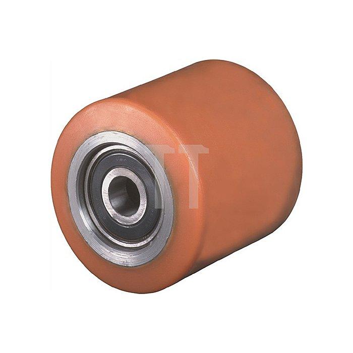 Gabelrolle Polyurethan Einbau-L.90mm Rad-B.82mm D.82mm Achs-D.20mm Trgf.900kg
