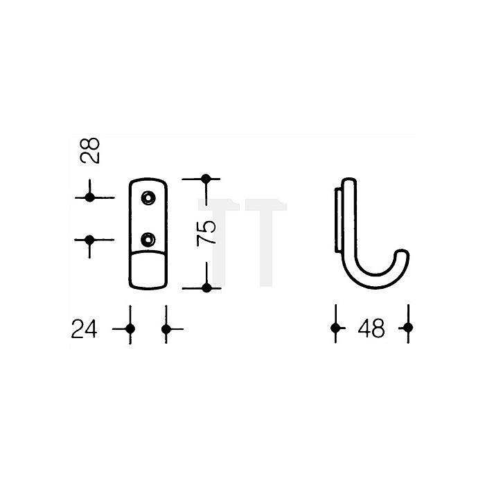 Garderobenhaken 477.90.060 97 PA H.75mm B.24mm lichtgrau