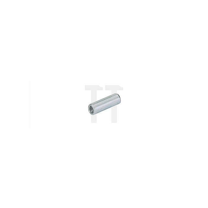 Gewindehülse 64908 Länge 18mm Stahl chromatiert Gewinde M4 Bohr-Durchmesser 5mm