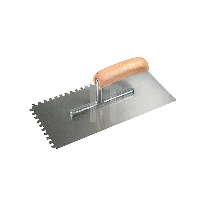 Glättekelle L. 280mm B. 130mm Stahl gehärtet 6 x 6 gezahnt, mit gebogenem Holz