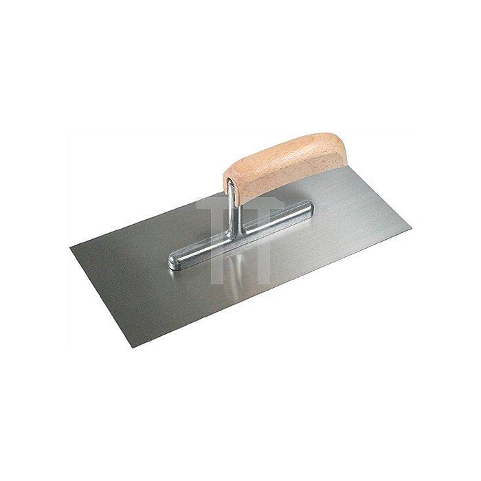 Glättekelle L. 280mm B. 130mm Stahl gehärtet mit gebogenem Holzheft