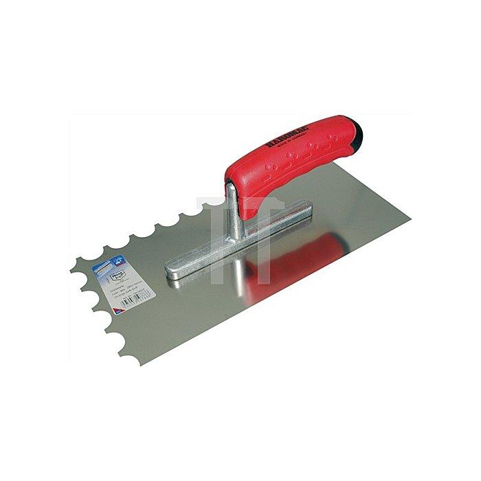 Glättekelle L.280mm B.130mm Halbmondzahnung Blatt rostfrei mit Buchenholzheft