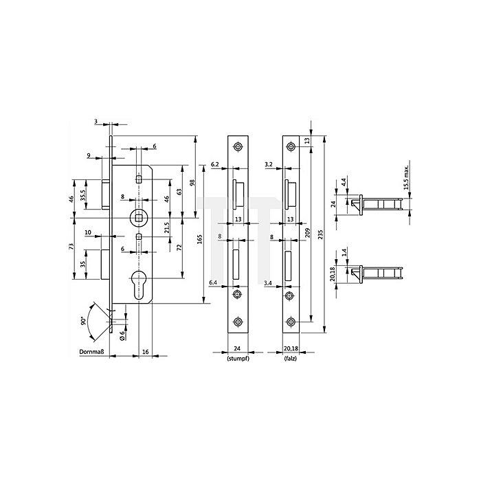 Glastür-Einsteckschloss PZ DIN R Dorn 45mm Entf. 72mm VK 8mm Stulp 20mm käntig