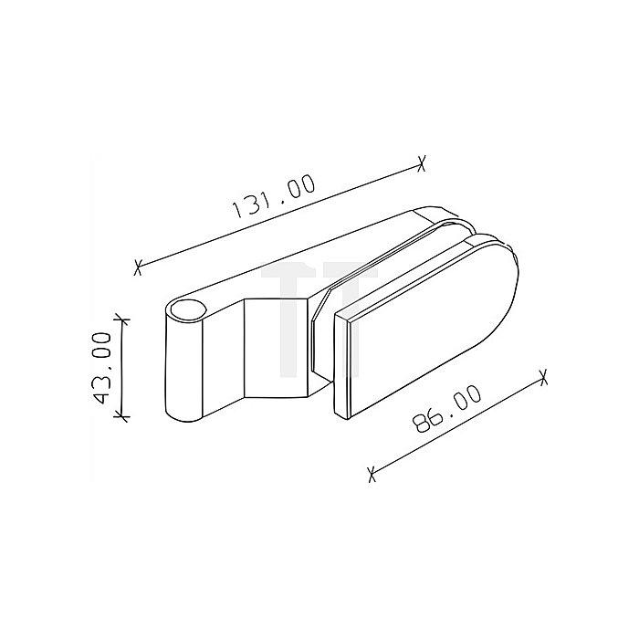 Glastürband 409 L.86mm H.43mm mattnickel 2tlg.m.Zierhülse