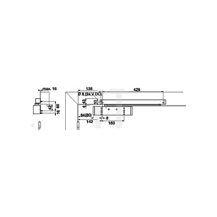 Gleitschienentürschließer TS 93 B i.Contur Design Gr.EN 2-5 weiss (RAL 9010) o.GS