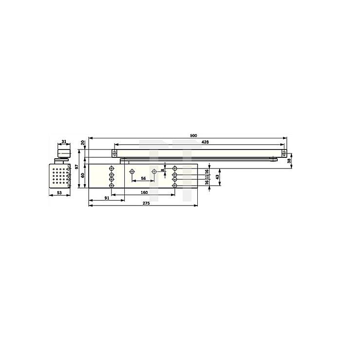 Gleitschienentürschließer TS 93 Basic Größe EN 2-5 silberfarbig m.Gleistschiene