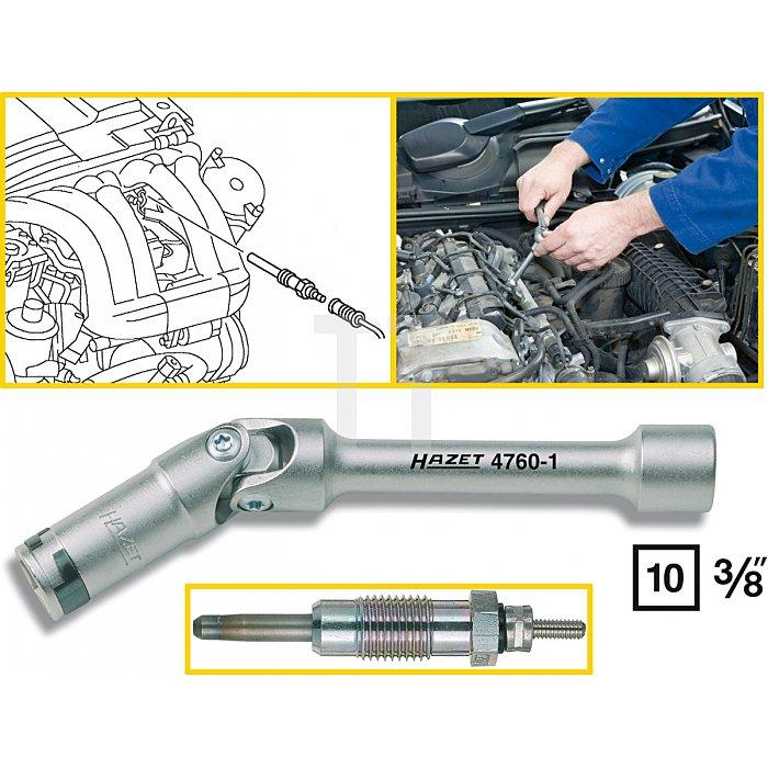 Hazet Glühkerzen-Schlüssel s: 12mm Innen-Vierkant 10mm (3/8 Zoll) l: 152mm 4760-1