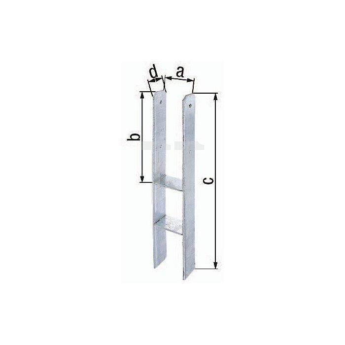 H-Pfostenträger ETA-10/0210 101x300x600x60mm Stahl roh feuerZN