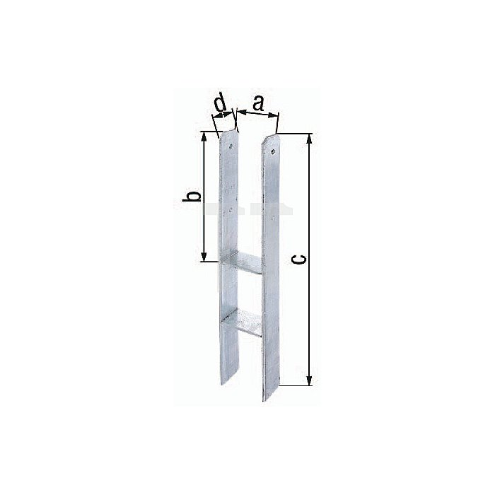 H-Pfostenträger ETA-10/0210 121x300x600x60mm Stahl roh feuerZN