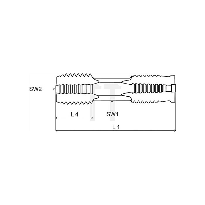 Handgewindebohrer doppelseitig G 3/8Zoll HSSG Vor- und Fertigschneider