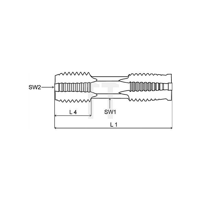 Handgewindebohrer doppelseitig M18 HSSG Vor- und Fertigschneider