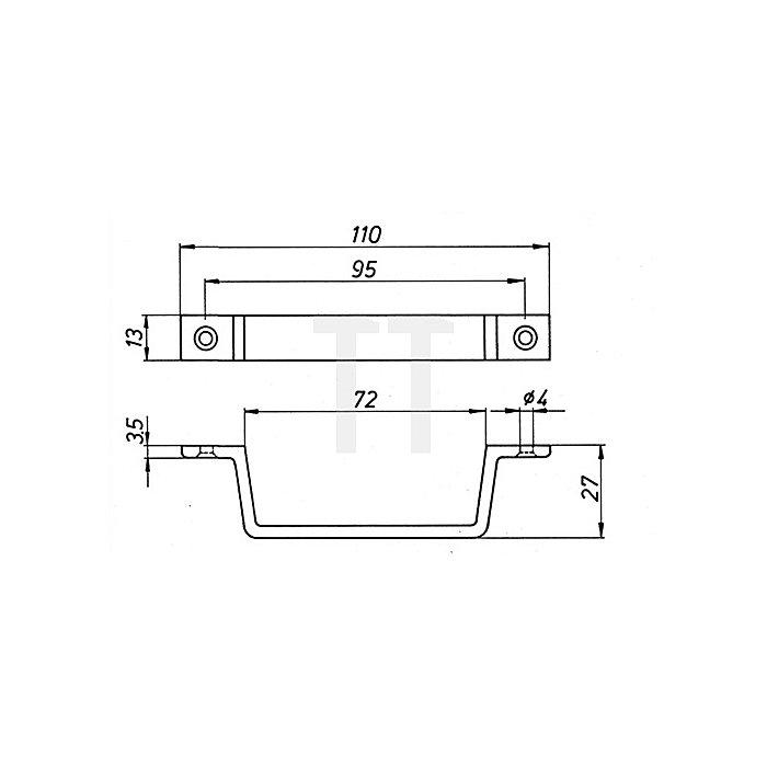 Handgriff Länge 110mm Leichtmetall F2 neusilberfarbig mit Befestigungsbohrung