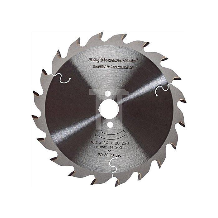 Handkreissägeblatt HW W 20Z. D.160mm B.2,4mm SCHUMACHER Bohrung 20mm