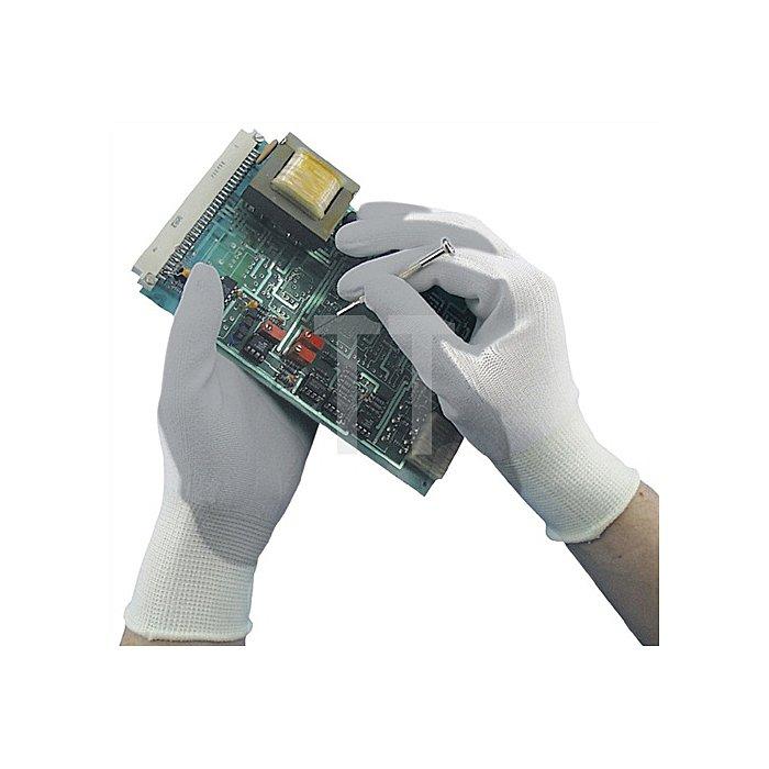 Handschuh Camapur Comfort Gr. 7 nahtloses Trikot m. PU-Beschichtung weiss/grau