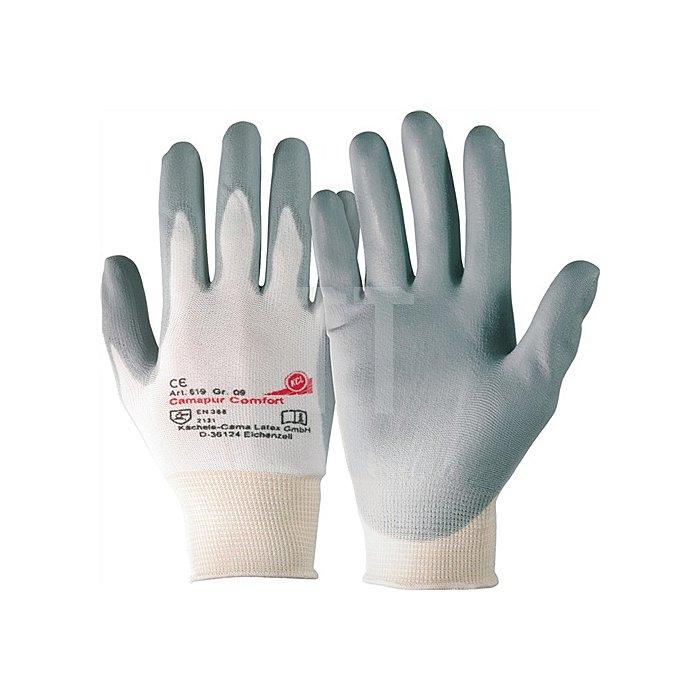 Handschuh Camapur Comfort Gr. 9 nahtloses Trikot m. PU-Beschichtung weiss/grau