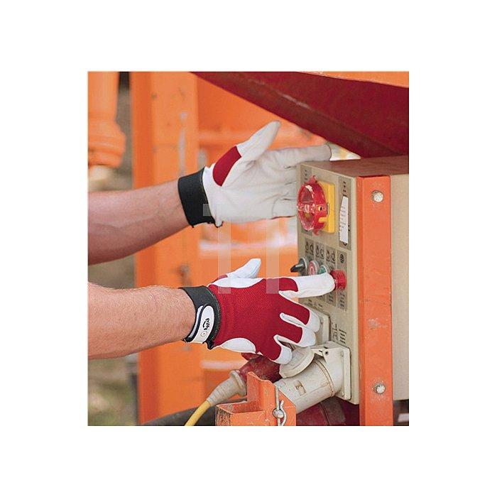 Handschuh EN388 Kat.II Gr. 10 Ziegennappa Handrücken rot Klettverschluss a.Karte
