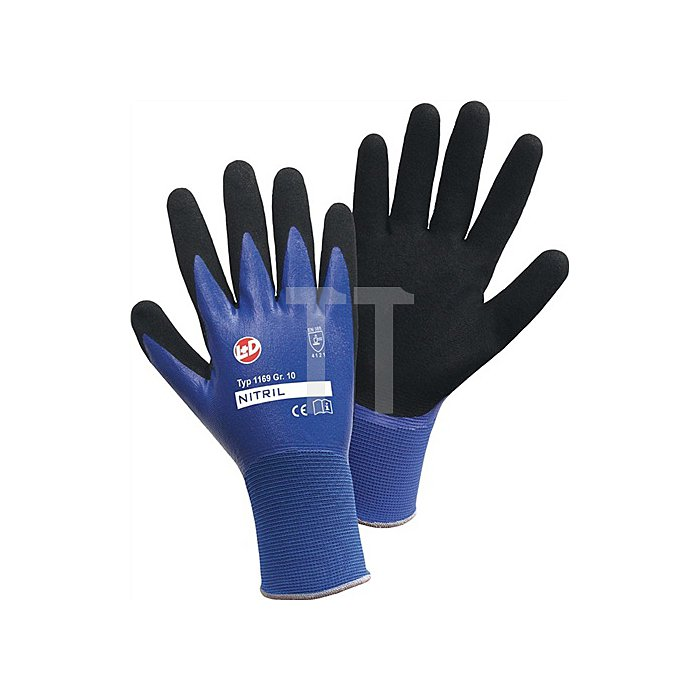 Handschuh EN388 Kat.II Gr. 8, Nylon, doppelte Nitrilbeschichtung, blau schw.