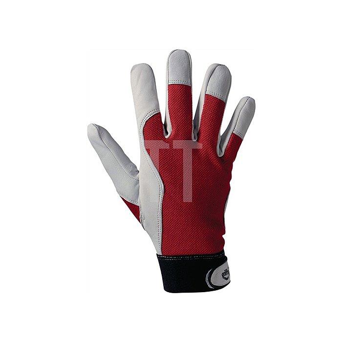 Handschuh EN388 Kat.II Gr. 9 Ziegennappa Handrücken rot Klettverschluss a.Karte