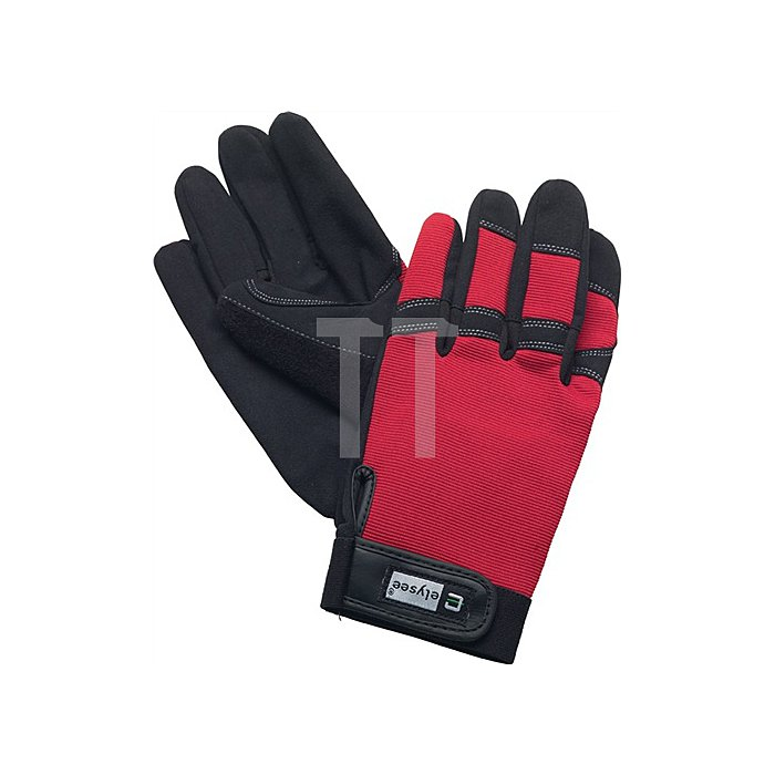Handschuhe EN388 Kat. II Mechanical Technician Gr.9 schwarz/rot Klettverschluss