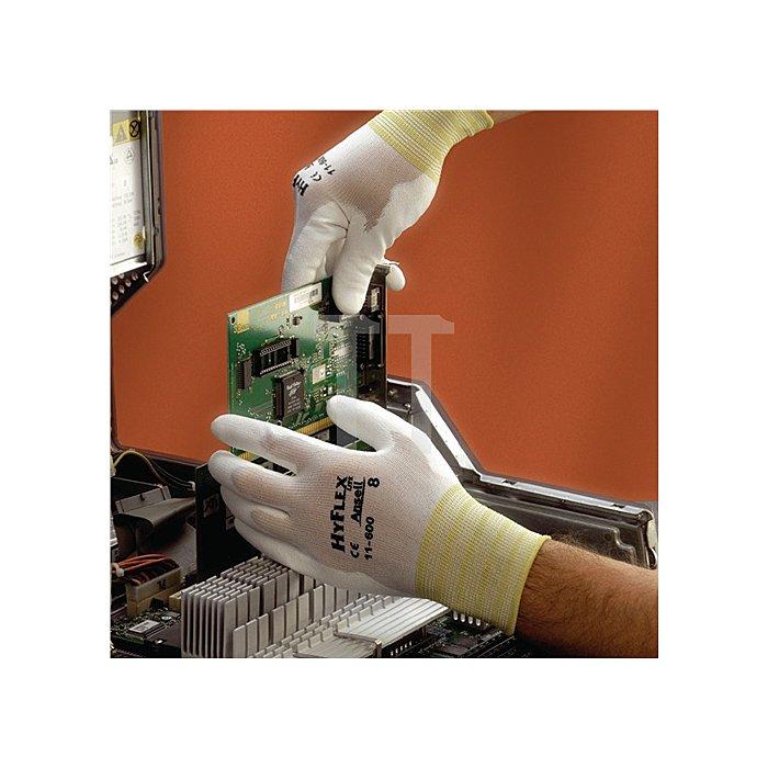 Handschuhe EN388 Kat.II HyFlex 11-600 Gr.8 Nylon m.Polyurethan weiss