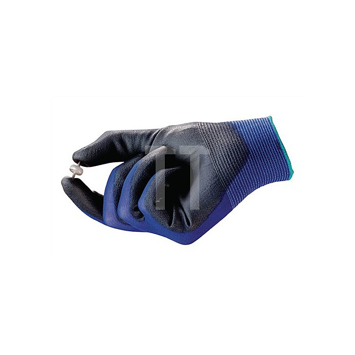 Handschuhe EN388 Kat.II HyFlex 11-618 Gr.7 Nylon m.Polyurethan blau/schwarz