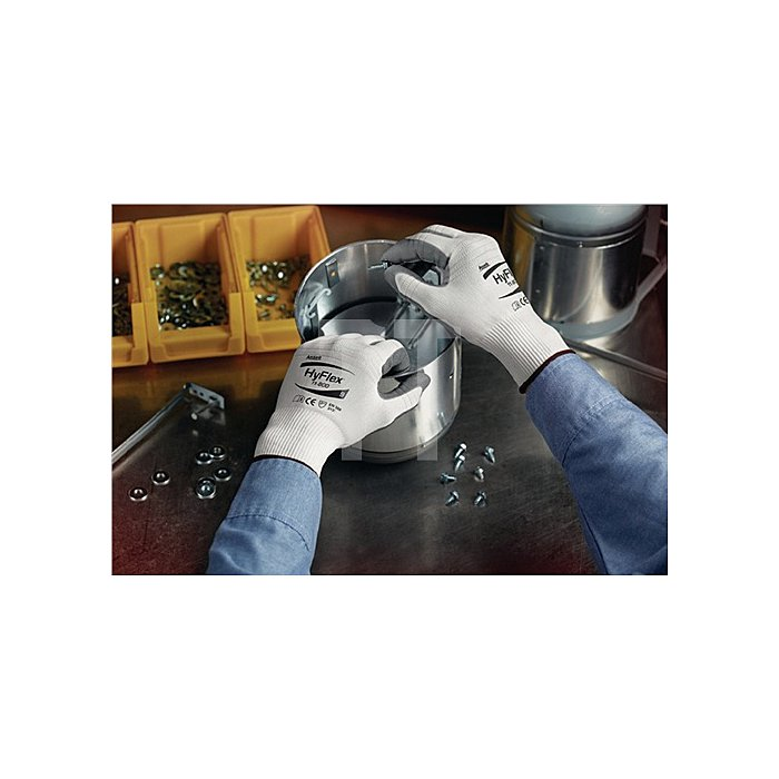 Handschuhe EN388 Kat.II HyFlex 11-800 Gr.7 Nylon m.Nitrilschaum weiss/grau