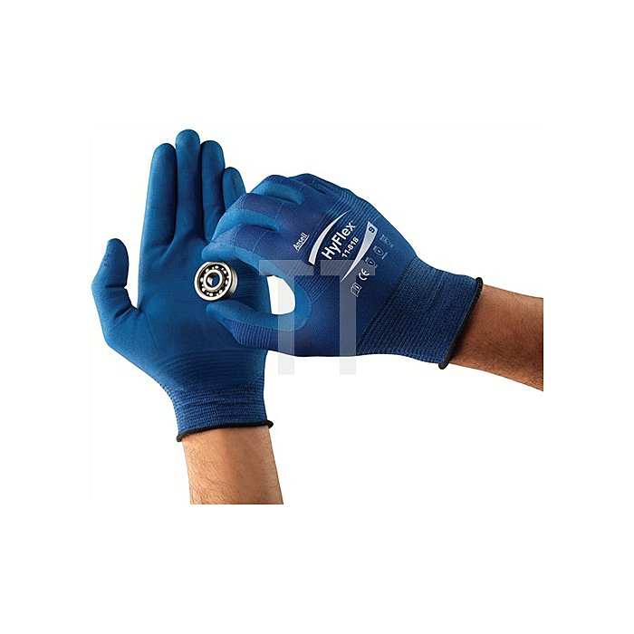 Handschuhe EN388 Kat.II HyFlex 11-818 Gr. 10 Nylon m.Nitrilschaum blau