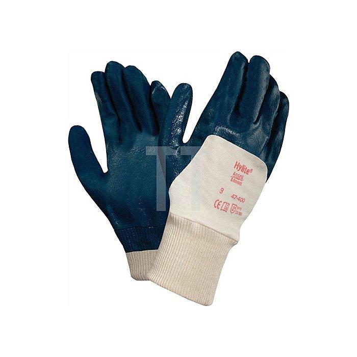 Handschuhe EN388 Kat.II HyLite 47-400 Gr.9 Strick m. 3/4 Nitril weiss/blau